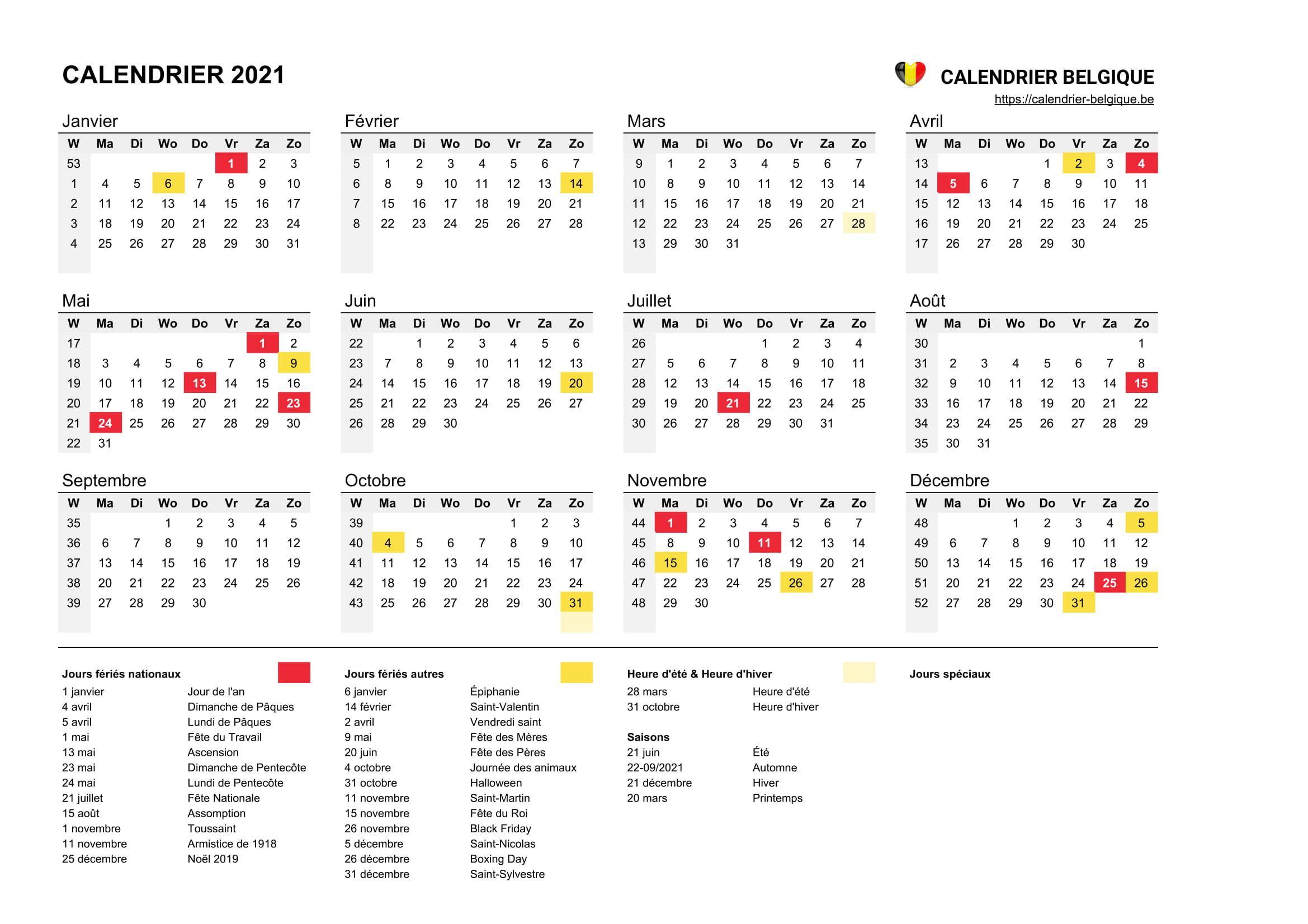 Calendrier 2021 • Calendrier Belgique