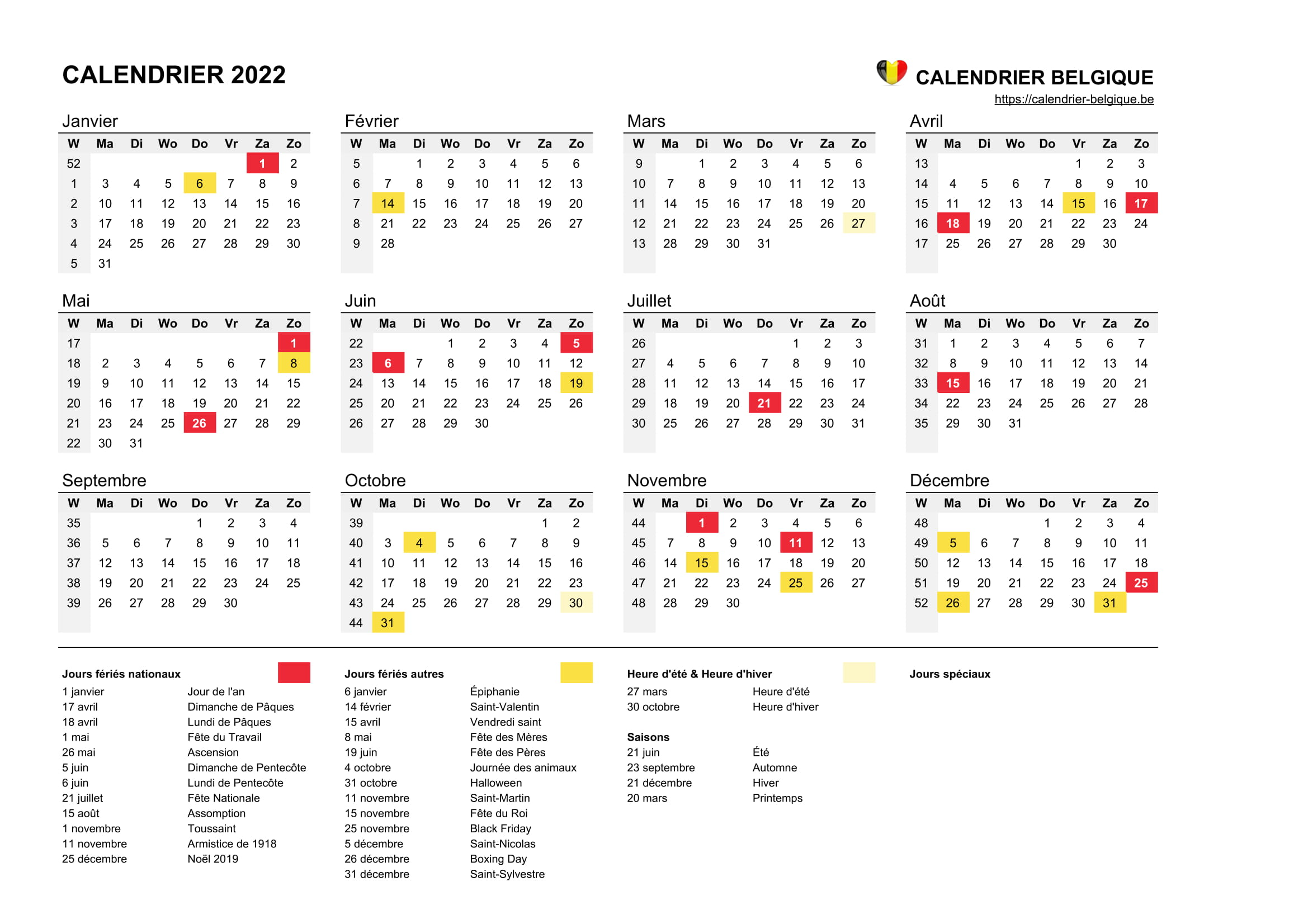 Calendrier 2022 • Calendrier Belgique